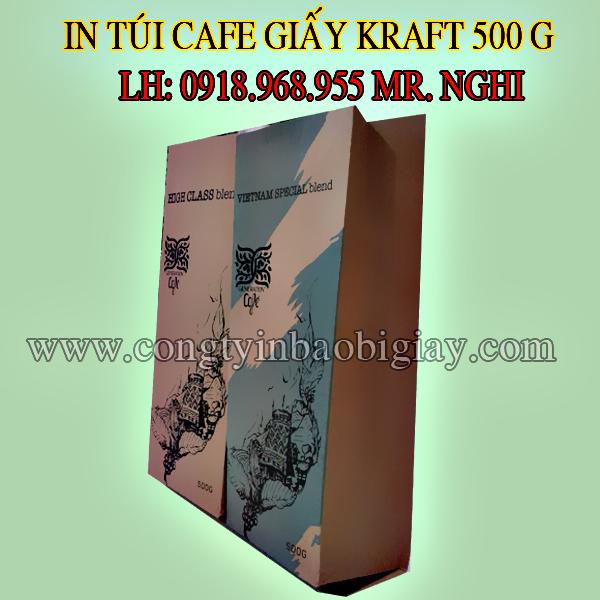 In túi đựng cafe giấy kraft 500 gram| baobimangghep.com