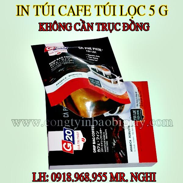 In túi đựng cafe túi lọc 5 gram G20| baobimangghep.com